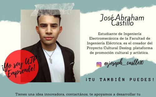 José Abraham Castillo, Estudiante de Ingeniería Electromecánica de la Facultad de Ingeniería Eléctrica, creador de la plataforma de promoción cultural y artística, Cultura Desing