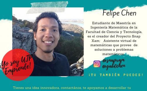Felipe Chen, estudiante de Maestría en Ingeniería Matemática de la Facultad de Ciencia y Tecnología, creador del proyecto Snap Xam: asistente virtual que provee soluciones a problemas matemáticos