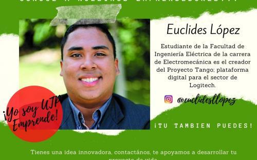 Euclides López, estudiante de la Facultad de Ingeniería Eléctrica de la carrera de Electromecánica, creador del Proyecto Tango: plataforma digital para el sector de Logitech